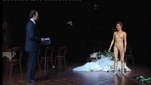 Nude actress on stage
